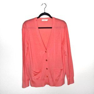 Tory Burch Coral Cardigan w/ Gold Buttons